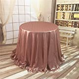 TRLYC 132-Inch Round Sequin Tablecloth for Wedding Happy New Year 6FT Table Cloth-Blush Pink