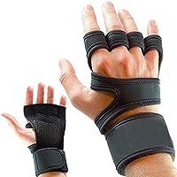 Guantes para entrenamiento y gimnasio, CoWalkers guantes de levantamiento de pesas con soporte para la muñeca para ejercicios, entrenamiento cruzado de gimnasia y levantamiento de pesas - relleno de silicona para evitar callos - trajes para hombres y mujeres, agarre fuerte