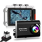 [2019 New] Apexcam Pro EIS Action Camera 4K 20MP WiFi Sports Camera Underwater 40M Waterproof Camera DV Camcorder External Mic 2.0'' HD LCD Screen 2.4G Remote 170°Wide-Angle 2 Rechargeable Batteries Helmet Accessories Kit