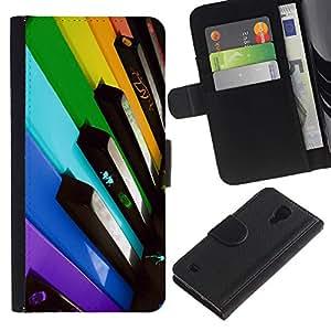 Ihec-Tech / Flip PU Cuero Cover Case para Samsung Galaxy S4 IV I9500 - Colorful Piano Keys