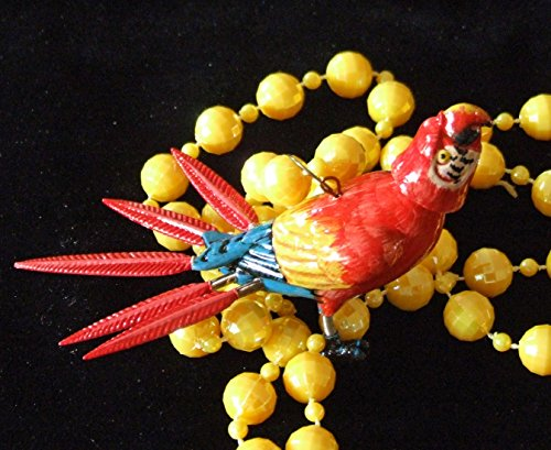 Bobble Head Colorful Parrot Beads Necklace New Orleans Mardi Gras Cajun Carnival Festival (Medallion Colored Bead Necklace)