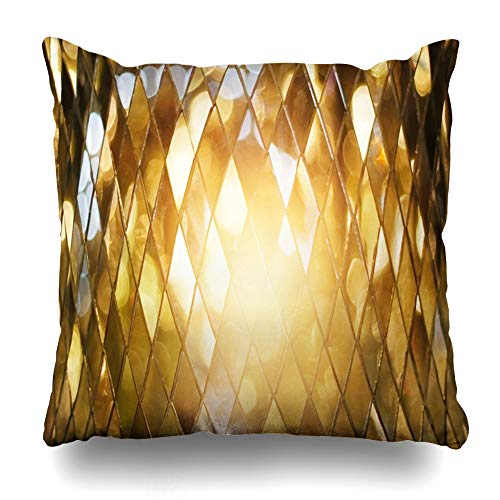Ahawoso Throw Pillow Covers Art Yellow Luxury Shining Golden Mosaic Glass Tile Gold Mirror Abstract Pattern Light Black Design Home Decor Zippered Pillowcase Square Size 20 x 20 Inches Cushion Case