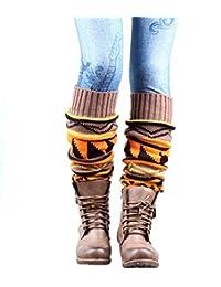 Women Boho Knitted Gaiters Long Leg Warmer Kakhi