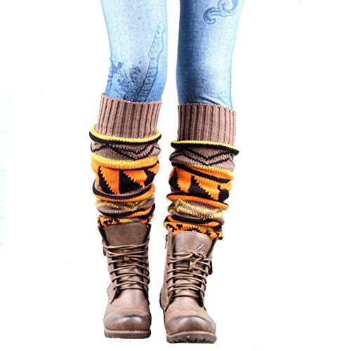 VIGVOG Women Boho Knitted Gaiters Long Leg Warmer Kakhi
