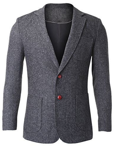 FLATSEVEN Men#039s Herringbone Tweed Sport Coat Wool Blazer Jacket with Elbow Patches BJ426 Grey US S/Asia L