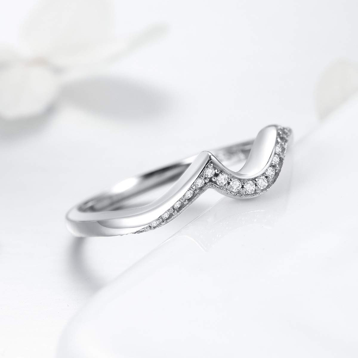 WOSTU 925 Sterling Silver Wave Rings Cubic Zirconia Stacking Rings Daily Ring for Women Girls