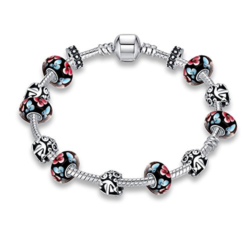 Gorgeous Jewelry Silver Plated Vintage Flower Black Glass Beaded Diy Pandora Crystal Bracelet
