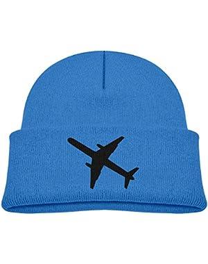 Kids Knitted Beanies Hat Airplane Winter Hat Knitted Skull Cap for Boys Girls Blue