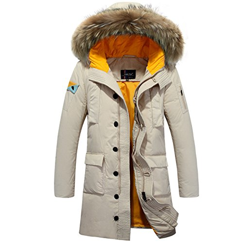 long cap casual Warm HHY M down fashion collar White jacket hair men's Hx6OxwYT
