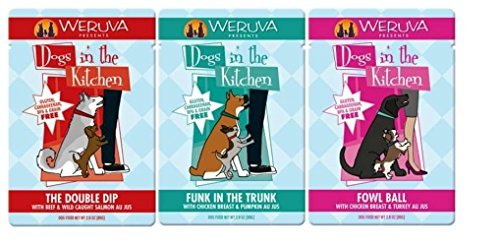 Weruva Dogs In The Kitchen Grain Free Dog Food 3 Flavor Variety 9 Pouch Bundle: (3) Funk In The Trunk, (3) The Double Dip, and (3) Fowl Ball, 2.8 Oz. Ea. (9 Pouches Total)