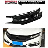 MotorFansClub Grille Gloss Black Front Bumper Hood Mesh Grill for Honda Civic 10TH 2016-2017 with OE Style