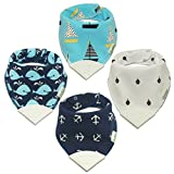 Whole Family Co. Premium Organic Cotton Baby & Toddler Bandana Bibs with BPA Free Silicone Teether, Soft & Absorbent, For Teething, Drooling & Feeding, Adjustable Size, Great Gift (Nautical Blue)