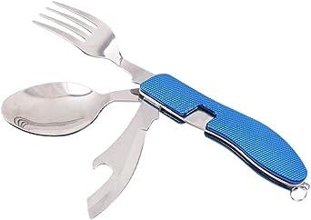 Runfon Botella de Acero Acampar Utensilios Set de Cubiertos de Acero Acampar Tenedor Cuchara Cuchillo abrelatas Plegable y Desmontable para Acampar Cubiertos vajilla con Mango de Aluminio Azul 1 Set