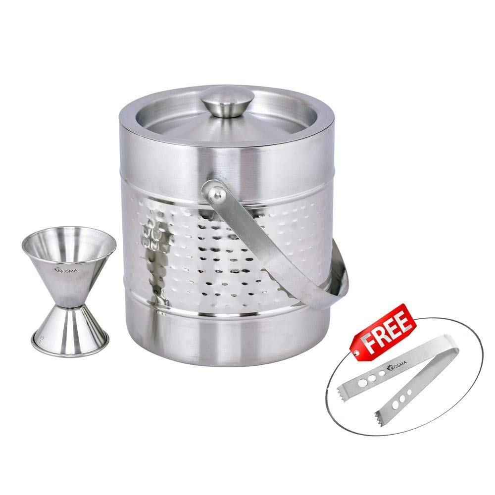 Kosma Stainless Steel Ice Bucket Double Wall 1.5 Litre with Peg Measure Jigger 1 x 2 oz and Ice Tong 5.5''