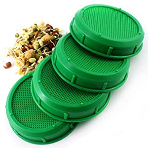 Sprouting Jar Strainer Lid (4-Pack) - Fits Wide Mouth Jars - For Growing Sprouts & Other Uses