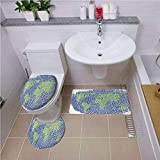 Non Slip Bath Shower Rug,World Map,Map of The World Fingerprint Style Continents Asia Europe Africa America,Navy Blue Green,U-Shaped Toilet Mat