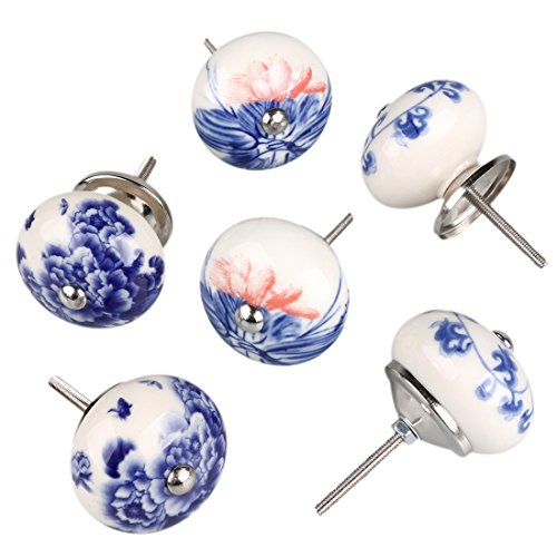 uxcell 6 Pieces Vintage Shabby Knobs White and Blue Floral Hand Painted Ceramic Pumpkin Cupboard Wardrobe Cabinet Drawer Door Handles Pulls Knob, Mixed Color #3