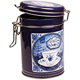CHINA BLUE - Classic Blend Retro Vintage Style ROUND Coffee Tin / Tea Caddy / Kitchen Storage Tin/Canister - Clip Lid - Blue & White by Buzz