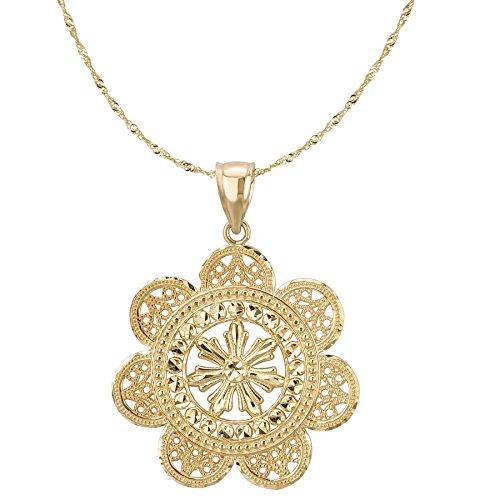 (14k Yellow Gold Diamond-Cut Filigree Flower Design)