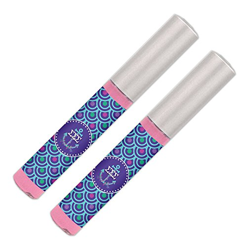 Sigma Sigma Sigma Lip Gloss (2 Pack) Soft Pink, Sheer, Smooth & Shiny. Great Tri Sigma sorority gifts for Big Little, Bid Day, gift baskets, gift bags, stocking stuffers—by (Sorority Bid Day)