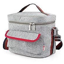 ANTIMAX Felt Insulation Cooler Lunch Bag Zipper Closures with Side Pocket Shoulder Strap Large Capacity for Picnic Work School Travel Gray