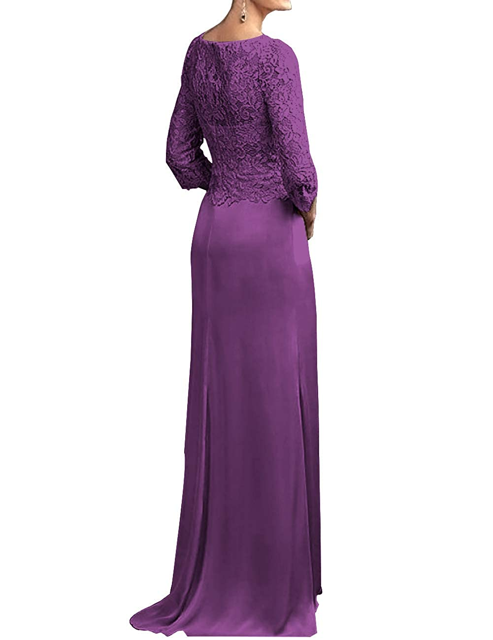 Mother The Bride Dresses V Neck Long Evening Party Gowns Lace 3//4 Sleeves Split