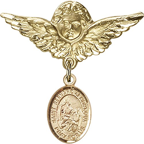 14kt Yellow Gold Baby Badge with St. Bernard of Montjoux Charm and Angel w/Wings Badge Pin 1 1/8 X 1 1/8 inches