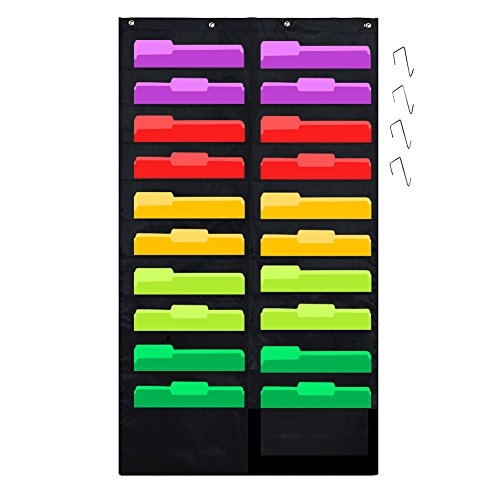 Godery Folder Pocket Chart (Black), Cascading Wall Organizer for School, Classroom, Home or Office Use, 20 Pocket Chart Hanging Wall Organizer with 4 Hangers - Desk Chart