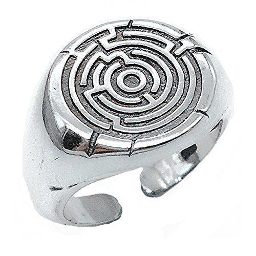 Helen de Lete Vintage Simple Personality Centered Maze Pattern Labyrinth 925 Sterling Silver Open (Sterling Silver Maze)