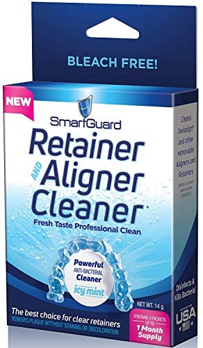 SmartGuard Retainer Aligner Cleaner 28 DAY PACK: Invisalign Cleanser for Brite OAP Clear Correct Removable Orthodontic Braces & Dental tooth for plastic Oral Appliances & Teeth Whitener Trays