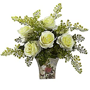 GREATHOPES White Rose & Maiden Hair w/Floral Planter Artificial Flower Decorative 24