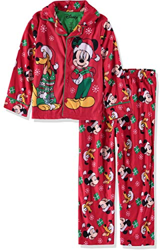 Disney Boys' Mickey Mouse 2-Piece Pajama Coat Set (Holiday/Red, 3T) ()