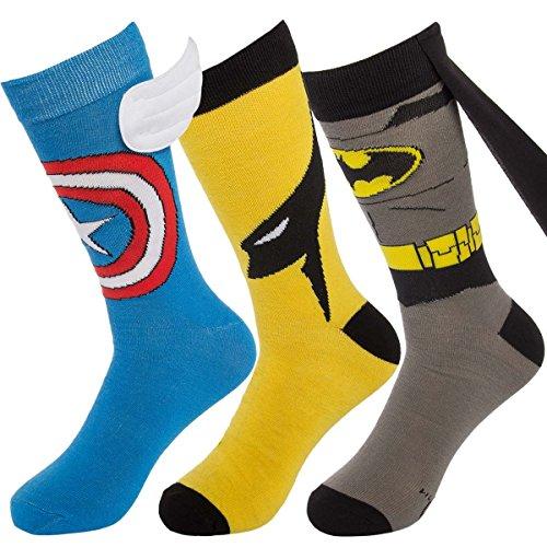 Bioworld (1 Pair) Superhero Socks Men's Crew, Colorful Comic-Book Characters, Fits Shoe Size 8-12, Cape Superhero Socks
