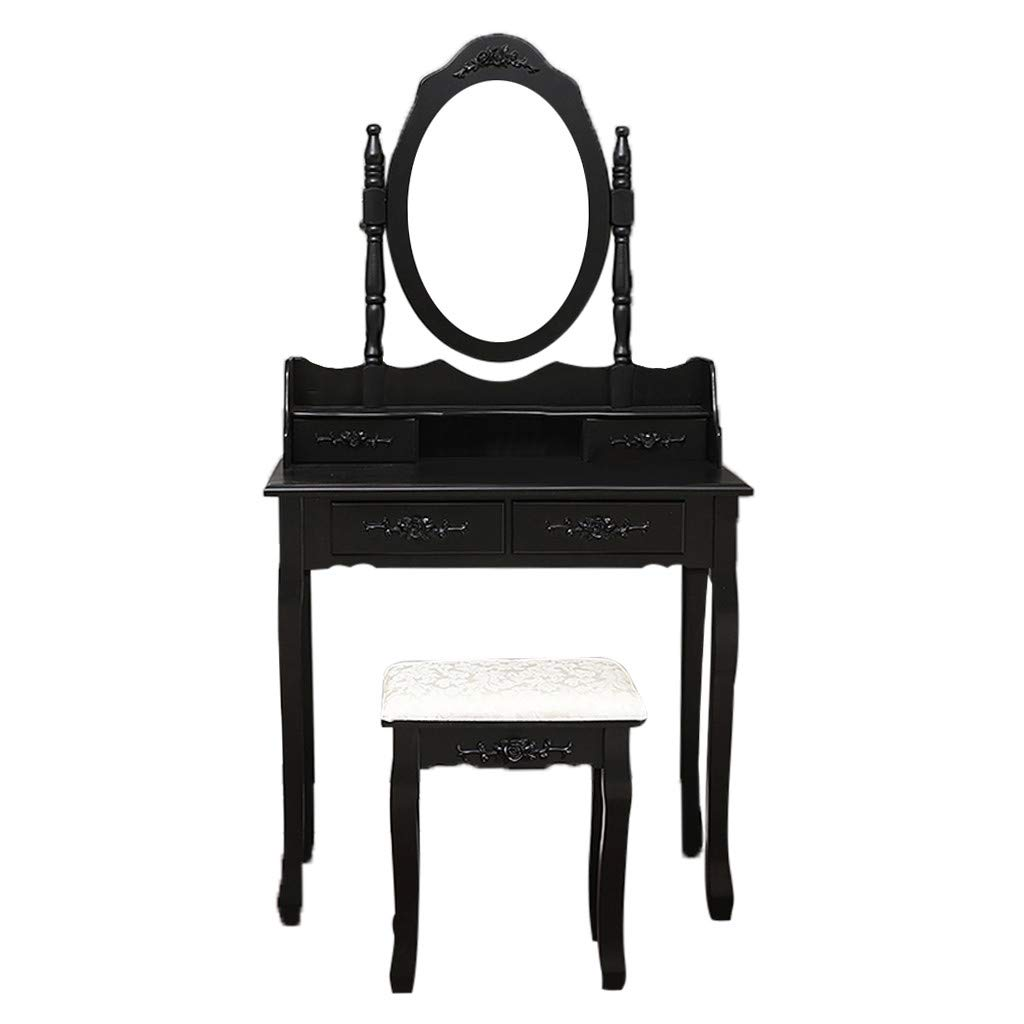 RDTIAN Vanity Table Set With Oval Mirror With 4 Drawers Dressing Table Cushioned Stool (Black) by RDTIAN