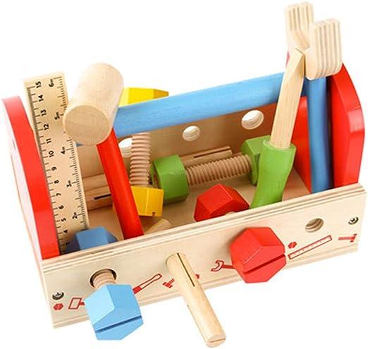 Bloques de madera de ladrillos de Tangram para niñ Caja de herramientas para niños Juego de