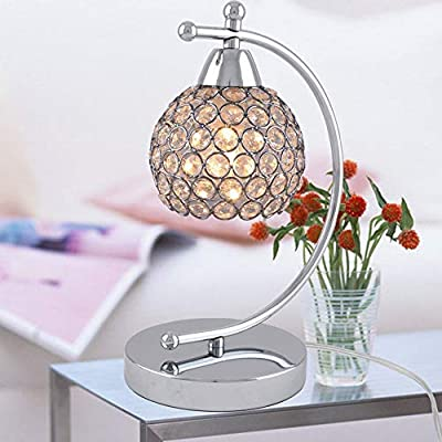WandaElite Simple lámpara de mesa de plata cristalina moderna de ...