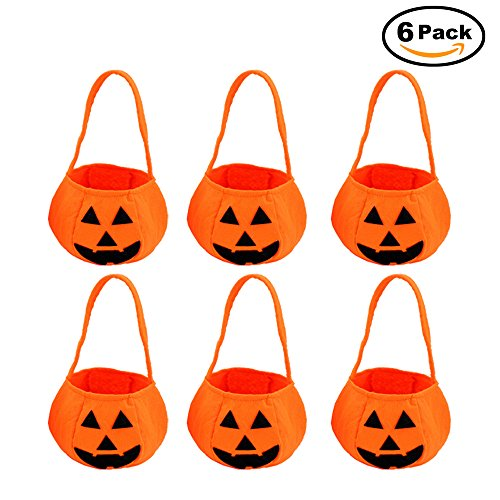 (6 PCS) Halloween Personalized Pumpkin Candy Bag Trick / Treat Candy Bag Canvas Bag for Kids,Party (Article About Halloween Costumes)