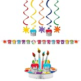 Art Party Supplies Party Pack Decorations Bundle | Centerpiece, Ribbon Party Banner, and Dizzy Danglers | Bold Kids Art Supplies Theme For A Creative Art Party | Fun Paint Splatter Design