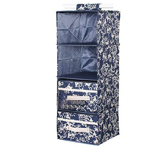 HOMESGU 4-Shelf Hanging Closet Organizer with 2 Drawers,Collapsible Hanging Wardrobe Storage Bags for Clothes,Pants,Shirts,Sweaters,11.8