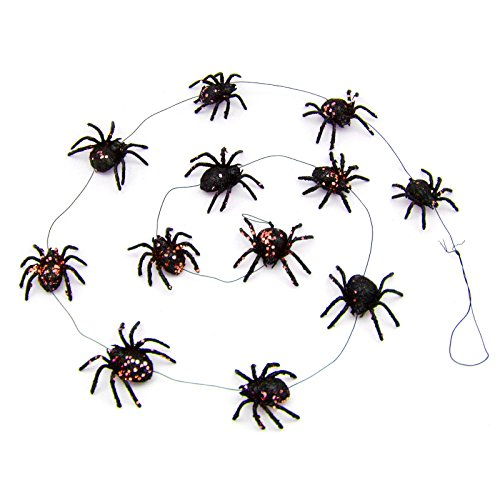 Vintage Style Glitter Spider Garland, 59 inches (Orange)