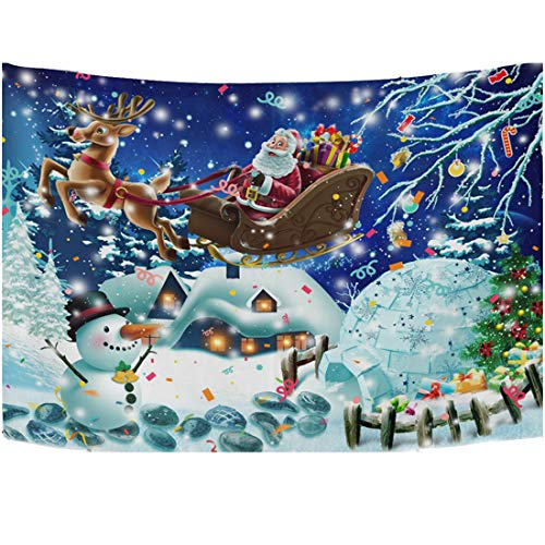 Christmas Tapestry Deer Santa White Snow Xmas Psychedelic Wall Hanging Decor Hippie Tapestries Wall Tapestry Purple for Bedroom 60