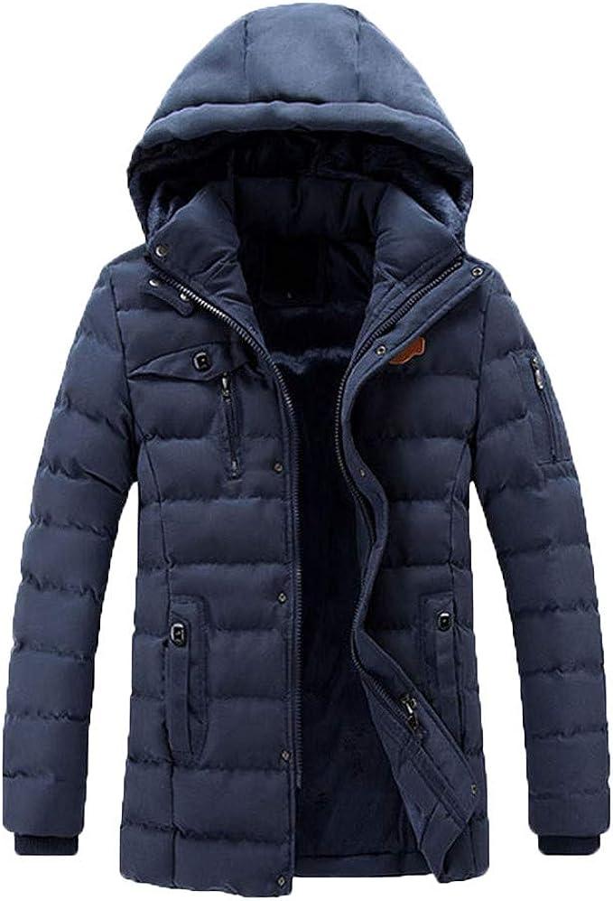 Longra Herren Wintermantel Jacke Daunenjacke Winter Mantel mit Kapuzen Parka Warm Gefütterte Baumwolle Winterjacke Herren Daunenmantel Lange