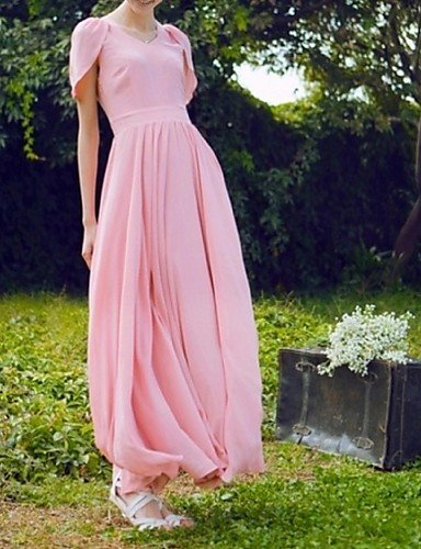 PU&PU Robe Aux femmes Swing Street Chic,Couleur Pleine Col en V Maxi Polyester , pink-l , pink-l