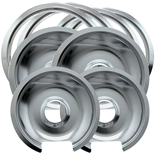 Electric Hinged Drip Pans - Range Kleen 1056RGE8 Style D Chrome 4 Pack Drip Pans and 4 Pack Trim Rings