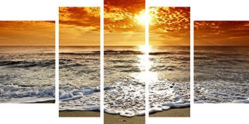 Glass Wall Art Acrylic Sunset and Waves Set of 5 Total 35.43 X 70.87 Inch Startonight Original Artwork the Ultimate Wall