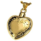 Memorial Gallery MG-3093gp Double Etched Heart 14K Gold/Sterling Silver Plating Cremation Pet Jewelry