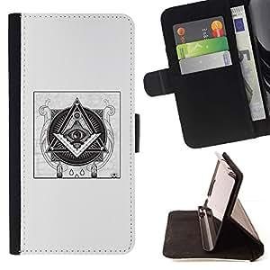 Momo Phone Case / Flip Funda de Cuero Case Cover - Pyramide Symbolisme Noir - Samsung Galaxy J3 GSM-J300
