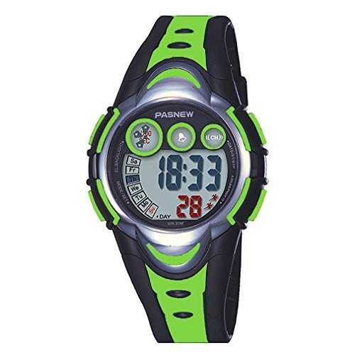 Kid Watch Multi Function Digital LED Sport 30M Waterproof Electronic Watches with Rubber Silicone Strap Wristwatch for Boy Girl Children Gift Green Image