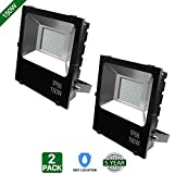 Hykolity 150W LED Flood Light Outdoor Security Light Weatherproof Parking Lot Warehouse Perimeter Lighting Fixture [600W Equivalent] High Power 15000lm 5000k Residential/Commercial Use-Pack of 2