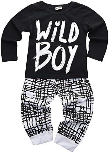 """Bebé Niños Ropa Set manga larga """"Wild Boy playera Tops Pantalones Outfit Invierno Primavera"""